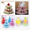 党のための多彩な印刷された3つの層の円形のカップケーキの立場、折りたたみケーキの立場及び結婚式をカスタム設計しなさい