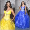 2012 cintas de espaguete sexy novas A - a linha revestimento da bainha perlou os vestidos de Tulle Quinceanera do plissado (QD-030)