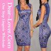 Vestido desnudo de la vendimia de la ilusión del cordón Real-Azul