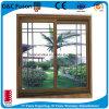 Finition en grain de bois Fenêtre de réception en verre glacée simple vitrée en aluminium