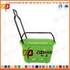 Panier à provisions en plastique de supermarché avec les roues (Zhb10)