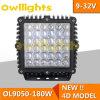 HochleistungsMachaine Black Square 4D Reflectory 9inch 180W Aluminum Housing LED Work Light
