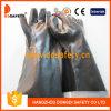 Черная химически упорная перчатка Dpv508 работы PVC