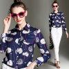 Chemise estampée formelle de la longue chemise des femmes d'Occident de mode (A453)