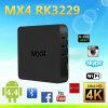 La casella Android TV della casella di Mx4 Rk3229 di Kodi di memoria astuta TV del quadrato accetta il contenitore più poco costoso di Android TV del DHL