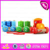 Kids、En71 Top Sale Pull Line Toy Vehicle Wooden Toy Train OEM W05c025のための多彩なWooden Pull Shape Block Train Toy