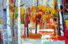 Colorido paisaje Pintura de aceite de abedul para múltiples propósitos
