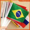 100% полиэстер напечатано национального флага руки с пластмассовой полюс