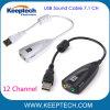 USB 2.0 de alta calidad de sonido envolvente virtual 7.1 Sonido Ecualizador de acero de 12 canales Adaptador PC