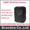 Ambarella A7の警察のボディによって身に着けられているカメラ1296p極度のHD IRの夜間視界