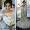 Reizvolle wulstige Spitze-langes Hülsen-Nixe-Hochzeits-Kleid