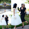 Form Two Pieces Mother Bride Gown Black des Knies-Length Evening Dresses Z7034