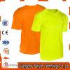 T-shirt 100% élevé de visibilité de couleur pure en gros de coton pour la sûreté
