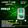 As linhas da ferramenta cinco do nível do laser esverdeiam o nível do laser de feixe com banco e receptor da potência