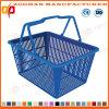 Panier à provisions coloré portatif de supermarché avec les traitements de double (ZHb160)