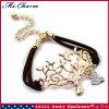نوع ذهب يصفح شجرة يفتن عصفور بلّوريّة مجوهرات مزدوجة جلد سوار