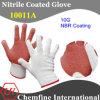 10 г белого полиэстера и хлопка вязаные рукавицы с коричневым NBR покрытие (10011A)