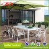 Mesas e cadeiras de alumínio para jardim de alta qualidade, cadeiras de textileno, mesas de jantar e cadeiras ao ar livre