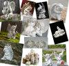 Decorazione domestica bianca di marmo poco angelo che intaglia scultura