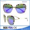 Venda de óculos de sol com lente de espelho liso com moldura de metal de moda