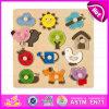 Enigma de madeira do botão do miúdo 2015 educacional pequeno, jogo bonito do enigma do botão das crianças de DIY, brinquedo de madeira W14m062 do enigma do botão grande da boa qualidade
