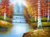 Cielo azul y pintura al óleo verde del paisaje del lago tree hechos en China (LH-343000)