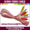 1.5m Copper/Pink 3 RCA Lead Jaiebi Cable/Wire/Lead/Cord met Boss Packing voor Pakistan
