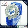 Las mujeres de la banda de silicona de Dama reloj de pulsera de cuarzo de cristal (DC-1148)
