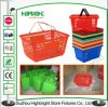Panier de plastique de panier à provisions de supermarché de traitement en métal