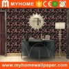 2017 Venta caliente 1.06*15m de Corea el papel tapiz, Damasco Negro Papel tapiz de flores
