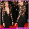 2014elegant Long Sleeve сексуальное Black Lace Глубокое-V Evening Dress (E-79009-788-8)