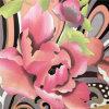 Ярким красным Джерси напечатанный цветком Silk