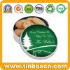Contenitore rotondo di stagno dell'albero di Natale con la cassaforte dell'alimento per i biscotti dello spuntino