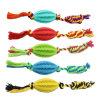 多彩な犬の咀嚼綿ロープが付いているゴム製ペットおもちゃ