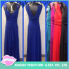 Long Prom Deep V Halter Blue Evening Robes élégantes