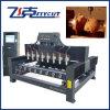 máquina de grabado del CNC de la carpintería de las Multi-Cabezas de Flat&Rotay del eje 3D 4
