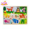 2019 Nouvelle conception bébé animal en bois d'enseignement des puzzles avec le bouton W14M153
