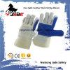 青い産業手の安全革靴の革作業手袋を反スクラッチしなさい