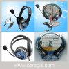 マイクロフォンが付いているUSBによってワイヤーで縛られるステレオのヘッドセットのヘッドホーン