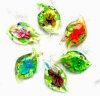 Teste padrão da Ouro-Poeira e de flor dentro dos pendentes de vidro da forma de folha (PENH0100)
