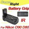 원격 제어 MB-D80+로 Nikon D90 D80를 위한 수직 건전지 그립