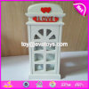 Personalizar la forma de cabina de teléfono blanco de madera hucha para niños W02A272