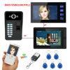 7 2 мониторами проводной / беспроводной видео сигнала системы внутренней связи WiFi с помощью пароля RFID считыватель отпечатков пальцев