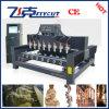Maquinaria da gravura de madeira do CNC da linha central de China 3D 4 para o cilindro