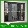 Алюминиевое окно с зажженными окном и дверью качания конструкции алюминиевым