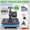 La cubierta auto de la apertura HP6in1 Calor-Presiona la prensa combinada del calor de la camiseta 6in1