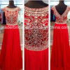 Beads Red Chiffon Party Prom Gown Vestidos de noite L1539