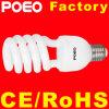 Metade da lâmpada fluorescente compacta espiral CFL lâmpada economizadora de energia