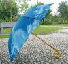 Barato de vento automática reta exterior de madeira Parasol Umbrella