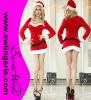 Traje sexy vermelho T1328 de Santa do Natal